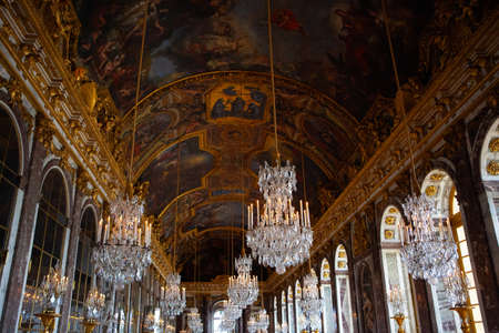 Versailles , France - April 13, 2014: The Hall of Mirrors (Galerie des Glaces) of the Royal Palace of Versailles.