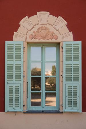 Nice, France - November 3, 2016: Window of Matisse museum (Musee Matisse de Nice) devoted to work of French painter Henri Matisse, located in Villa des Arenes in Cimiez neighborhood. Editorial