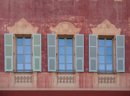 Nice, France - November 3, 2016: Windows of Matisse museum (Musee Matisse de Nice) devoted to work of French painter Henri Matisse, located in Villa des Arenes in Cimiez neighborhood. Editorial