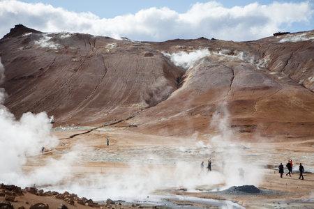 Hverir, Iceland - September 2, 2018: Fumarole Field in Namafjall Geothermal Area, Hverir, Iceland.