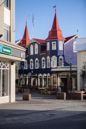 Akureyri, Iceland – 3 September, 2018: Akureyri city center street view. Akureyri is a city at the base of Eyjafjordur Fjord in northern Iceland.