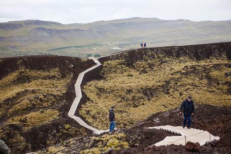 Grabrokarfell, Iceland - September 3, 2018: Grabrokarfell viewed from volcano Grabrok crater, Iceland. Editorial