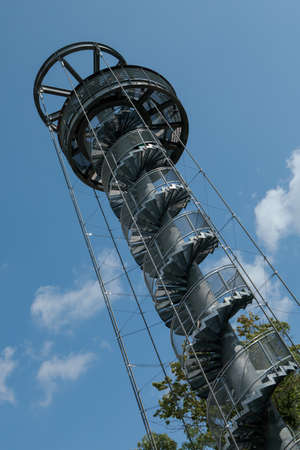 Krekenava observation tower with spiral stairs and the observation deck.Krekenava, Lithuania