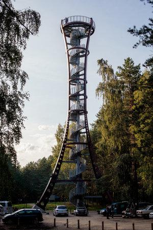 Mindunai, Lithuania - September 1, 2018: Mindunai observation tower from top of which can be seen aerial panorama of Baltieji Lakajai, Juodieji Lakajai, Siesartis lakes and Labanoras woods.