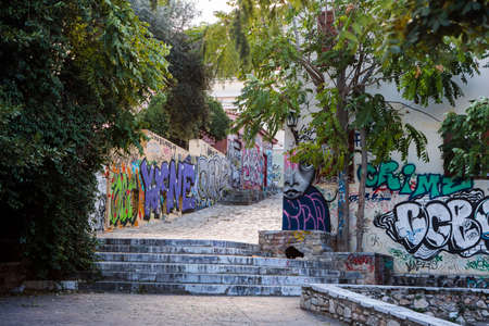 Athens, Greece - October 23, 2018: Graffiti on the walls of the houses in the very heart of Athens.
