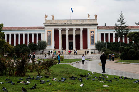 Athens, Greece - October 23, 2018: National Archaeological Museum contains the richest collection of artifacts from Greek antiquity worldwide.