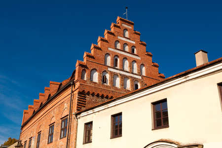 Ancient gothic building in Kaunas old town, Lithuania Stock Photo
