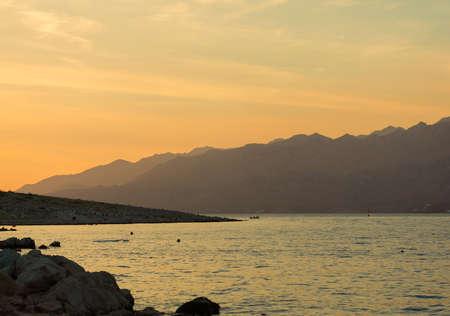 Summer evening Adriatic Sea coastline view in Croatia, near Zadar