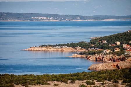 Summer evening Adriatic Sea coastline view in Croatia, Kvarner Bay near Novy Vinodolski