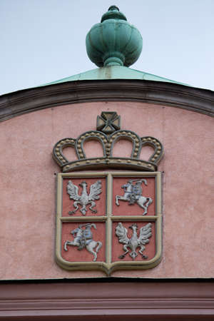Detail of Wawel Royal Castle in Krakow, Poland. Coat of arms of Polish Lithuanian Republic