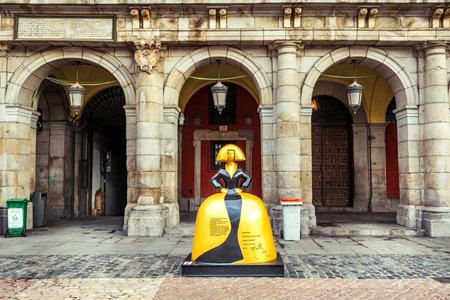 Madrid, Spain - October 21, 2019: Spanish Menina in the city center. The artist Antonio Azzato creates an impressive exhibition recalling the famous