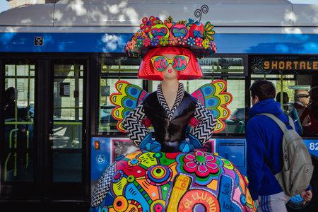 Madrid, Spain - October 21, 2019: Spanish Menina in the city center. The artist Antonio Azzato creates an impressive exhibition recalling the famous Redakční