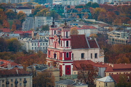 Vilnius, Lithuania - October 16, 2018: Aerial view of Church of the Apostles Philip and Jacob. It is highest single nave church in Lithuania, built in late baroque style. 版權商用圖片