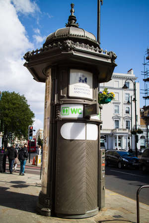 London, United Kingdom - May 4, 2019: Automatic public toilet in London street operated by coins. Stock fotó