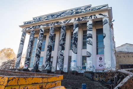 Vilnius, Lithuania - October 14, 2019: An old soviet union building named Palace of Trade Unions is being demolished.