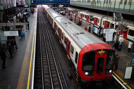 London, United Kingdom - May 4, 2019: Train is approaching in London Underground station of Earls Court.