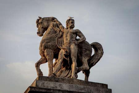 Statue of Gallic rider on the left bank of Pont dIéna (Jena Bridge) in Paris. Limestone sculpture by Antoine-Augustin Préault, installed in 1853.