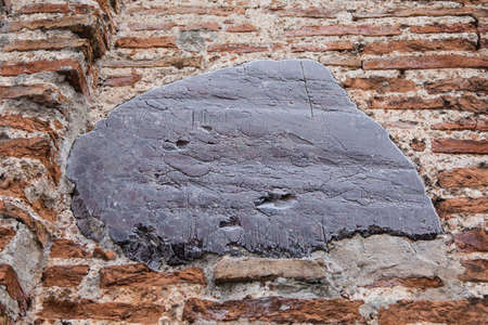 Closeup of a brickwork of the Kalozha church of Sts. Boris and Gleb, the oldest structure in Grodno, Belarus