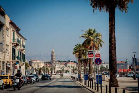 Split, Croatia - August 19, 2017: Street of old town of croatian city Split in Dalmatia, Croatia.
