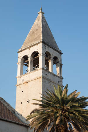 Bell Tower of St. Dominic Monastery in Trogir, Dalmatia, Croatia Stock Photo