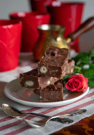 Chocolate fudge bars with nuts, ketogenic diet dessert