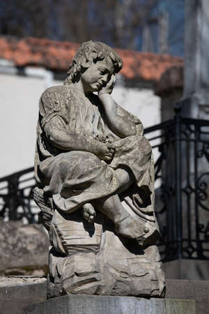 Vilnius, Lithuania - April 14, 2019: Statue in the Bernardine Cemetery, one of the three oldest cemeteries in Vilnius, Lithuania