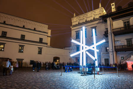 Vilnius, Lithuania - January 26, 2020: Light sculpture in the yard of Royal Palace, illuminated for 697  city birthday celebrations during Vilnius Festival of Light 2020.