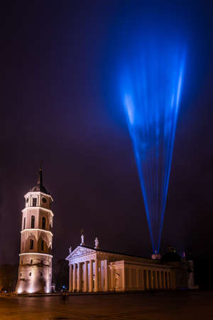 Vilnius, Lithuania - January 26, 2020: Vilnius Cathedral and Gediminas castle illuminated for 697  city birthday celebrations during Vilnius Festival of Light 2020.