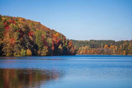 Autumn foliage around the Green Lakes (Zalieji ezerai), six lakes in Verkiai Regional Park, Vilnius, Lithuania