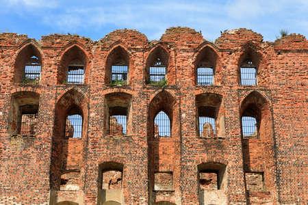 Huge ruins of the old brick Ragnit (Ragaine) castle in Neman (former Ragnit, or Ragaine), Kaliningrad Region.