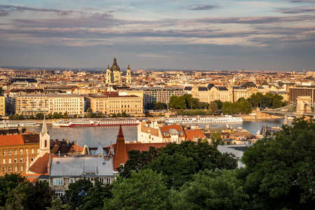 Budapest, Hungary - July 12, 2019: Cityscape of Budapest with the Danube river at summer evening. Redakční