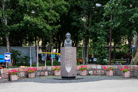 Palanga, Lithuania - July 11, 2020: Monument dedicated to Jonas Basanavicius, the Patriarch of the Lithuanian nation (sculptor J. Zikaras, 2002).