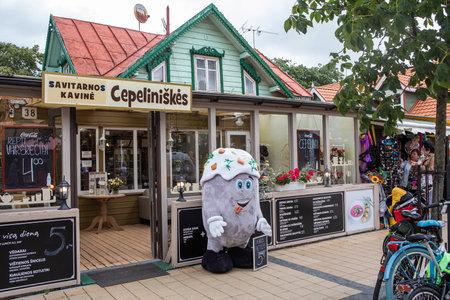 Palanga, Lithuania - July 11, 2020: The popular restaurant Cepeliniskes on Basanaviciaus street in Palanga resort, Lithuania.