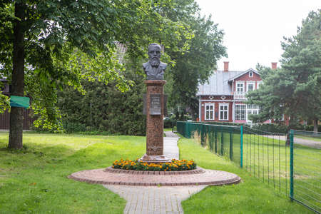 Palanga, Lithuania - July 11, 2020: Monument to the activist of the Lithuanian National Revival and first mayor of Palanga Dr. Jonas Sliupas on the grounds of his Memorial Homestead (2003, sculptors A. Toleikis, D. Lukosevicius).
