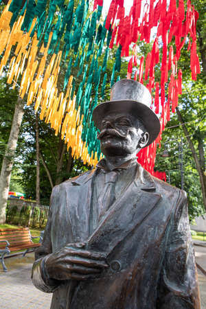 Palanga, Lithuania - July 11, 2020: Monument to the count Feliksas Tiskevicius in the Counts Tiskeviciai alley (2017, sculptor Klaudijus Pudymas).
