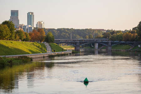 Vilnius, Lithuania - September 22, 2020: Two bridges - Liubarto Bridge and Zverynas Bridge across the Neris river in Vilnius, Lithuania.