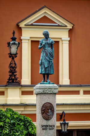 Klaipeda, Lithuania - July 10, 2020: Memorial of poet Simon Dach and Taravos Anike (Annchen von Tharau) in Theatre square of Klaipeda, Lithuania. Created by A. Kunne (1912), restored by M. Hacke (1989).
