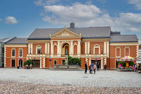 Klaipeda, Lithuania - July 10, 2020: Drama Theatre and the memorial of poet Simon Dach and Taravos Anike (Annchen von Tharau) in Klaipeda, Lithuania. Created by A. Kunne (1912), restored by M. Hacke (1989).