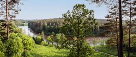Neris river as seen from the Hill Fort of Naujoji Reva in Silenai cognitive park near Vilnius, Lithuania. This touristic nature trail is a part of Neris regional park.