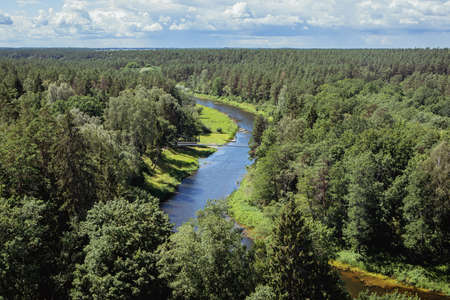 Scenic view of Sventoji River in Anyksciai Regional Park as seen from the watchtower in Anyksciai Treetop Walking Path. Anyksciai, Lithuania