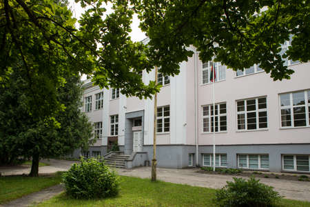 Panevezys, Lithuania - July 23, 2017: Educational building of Panevezys Vytautas Zemkalnis Gymnasium, one of the oldest high schools in the region.