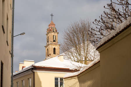 Tower of the Church of Blessed Virgin Mary of Consolation in Vilnius old town, Lithuania