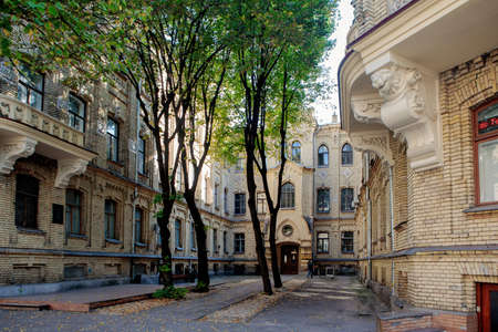 Vilnius, Lithuania - September 28, 2017: Prominent house in Jaksto street, built in 1897-1898 according to the project of M. Prozorov in neo-gothic style. Now it houses