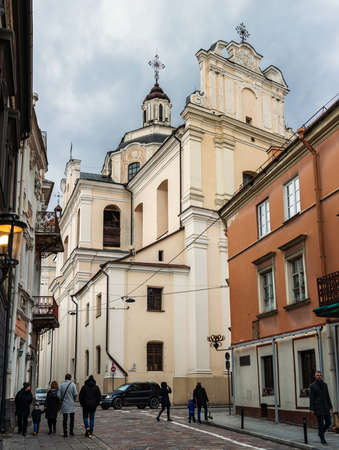 Vilnius, Lithuania - March 14, 2021: Dominican Church of the Holy Spirit in Vilnius, Lithuania, a monument of high and late Baroque. Redakční