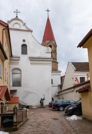 Vilnius, Lithuania - March 14, 2021: Evangelical Lutheran Church in Vilnius old town, Lithuania. Redakční