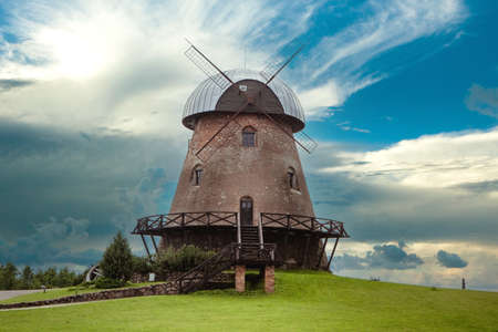 Obeliai, Lithuania - July 16, 2017: Historical Obeliai windmill, known since 1567. Now it houses a restaurant.