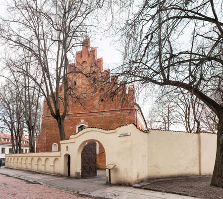 Vilnius, Lithuania - March 14, 2021: The Church of St Nicholas in Vilnius, the oldest surviving Catholic church in Lithuania, dating from the 14th century.