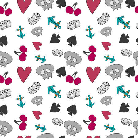 Seamless pattern with elements of cards and fruits on White background