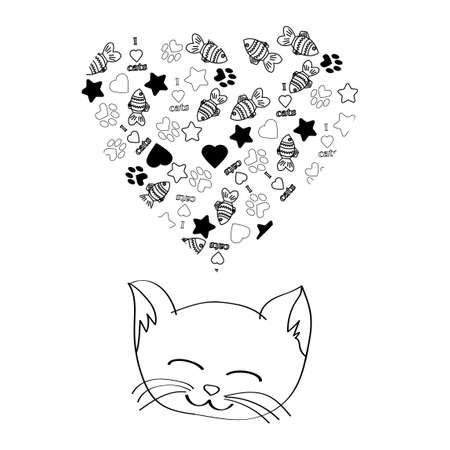 かわいい漫画猫の白い背景の上の夢  イラスト・ベクター素材