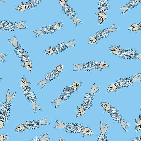 Seamless texture of a skeleton fish Illustration